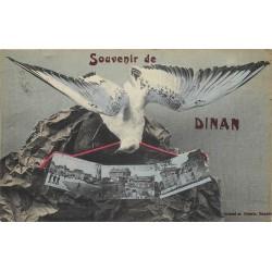 22 DINAN. Souvenir avec Mouette et triple vues 1919