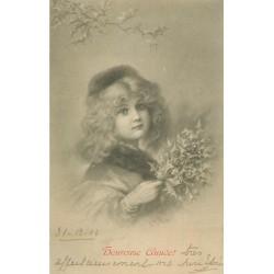 llustratreur M.M VIENNE. Superbe et rare visage d'Enfant avec du hou style romantique 1904