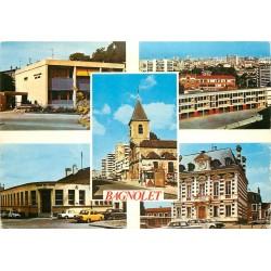 Photo Cpsm Cpm 93 BAGNOLET. Centre Anne Frank, école Coton, Eglise, la Poste et Mairie