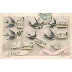 51 EPERNAY. Multivue avec Hirondelles 1906