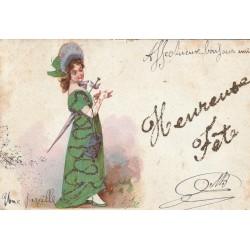 CARTE A SYSTEMES. Elégante avec véritable serpentin et heureuse fête en paillettes dorées 1905