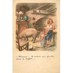 Illustrateur POULBOT. Maman le Cochon qui fouille dans le buffet...