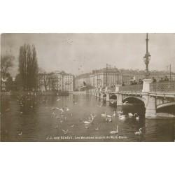 GENEVE. Les Mouettes et les Cygnes au Pont du Mont-Blanc 1921