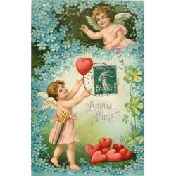 FANTAISIES. Carte gaufrée avec Angelots et Coeurs 1909
