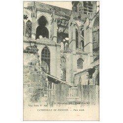 carte postale ancienne 02 SOISSONS. Cathédrale. Face Nord 1917