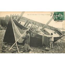 METIERS DE LA MER. Séchage des filets 1909