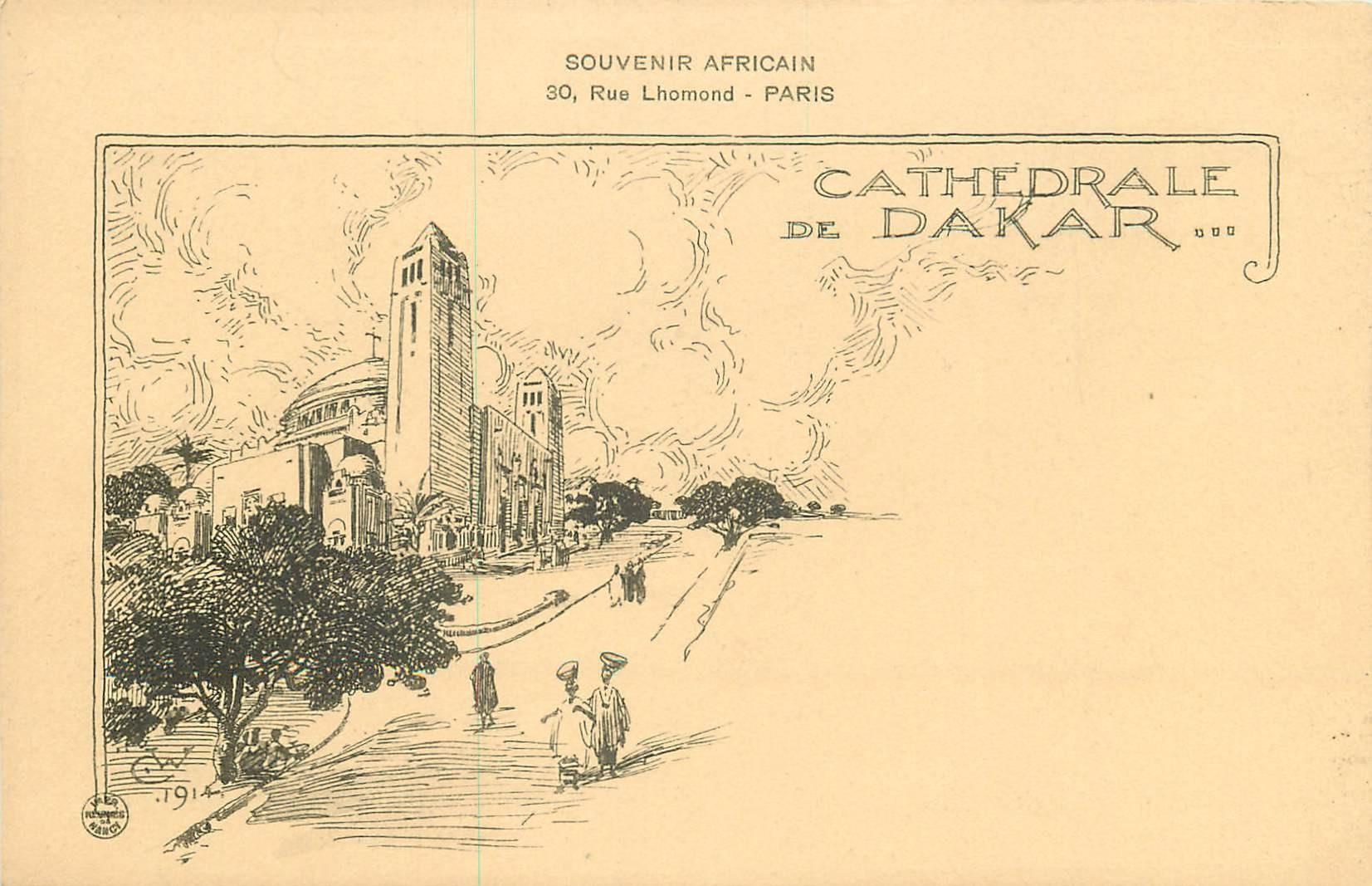 SENEGAL. Cathédrale de Dakar dessin de 1914