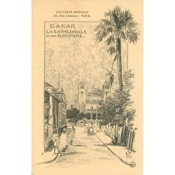 SENEGAL. Cathédrale de Dakar rue Dagorne sur un dessin de 1914