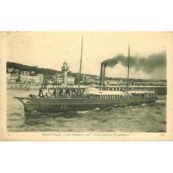 carte postale ancienne 14 TROUVILLE. Départ du Transbordeur Vapeur l'Augustin Normand 1910