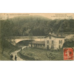 42 ROCHETAILLEE. Animation au Barrage et Pont du Moulin 1908