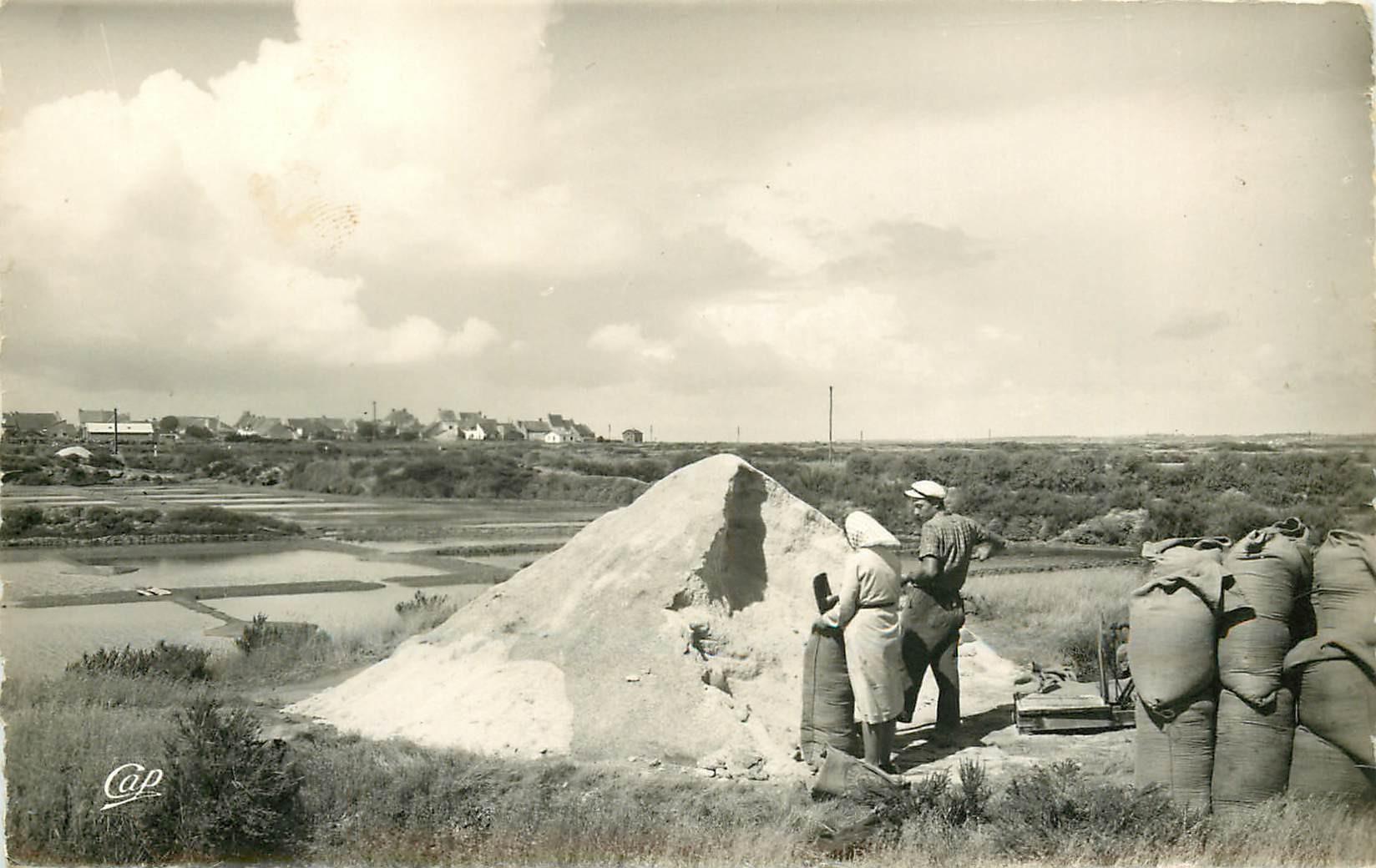 44 BATZ-SUR-MER. Photo Cpsm Paludiers au travail aux Marais Salants