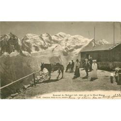 74 SOMMET DU BREVENT. Touristes avec Mule et vue sur le Mont-Blanc 1913