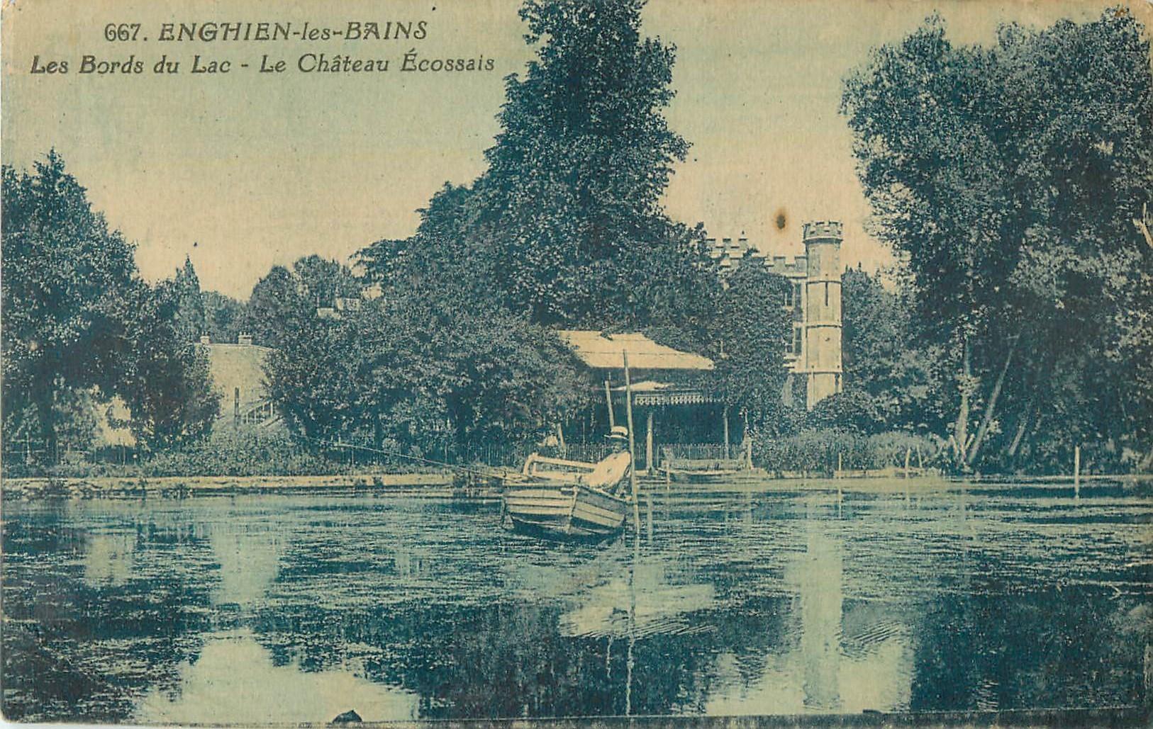 95 ENGHIEN-LES-BAINS. Le Château Ecossais sur les Bords du Lac avec canoteur