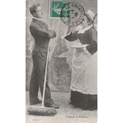 carte postale ancienne LA BRETAGNE. L'Amour 1908
