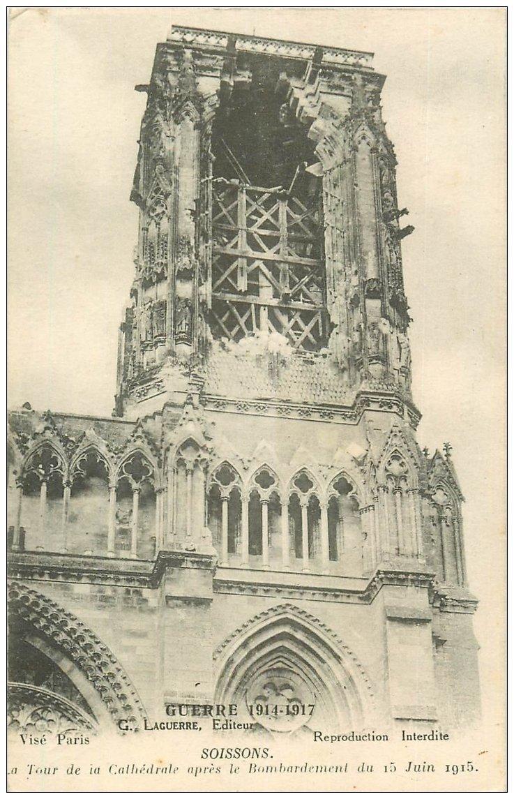 carte postale ancienne 02 SOISSONS. Cathédrale. La Tour