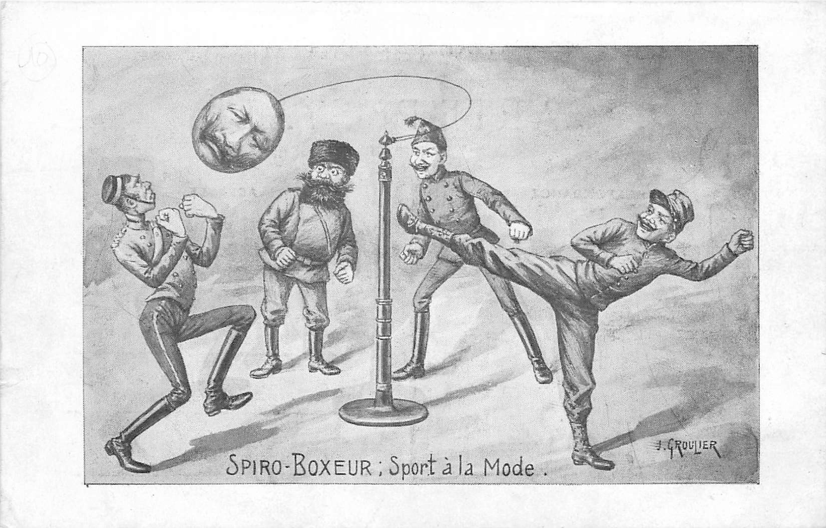 ILLUSTRATEUR GROULIER. Spiro Boxeur Sport à la Mode. Sportifs Boxeurs caricature