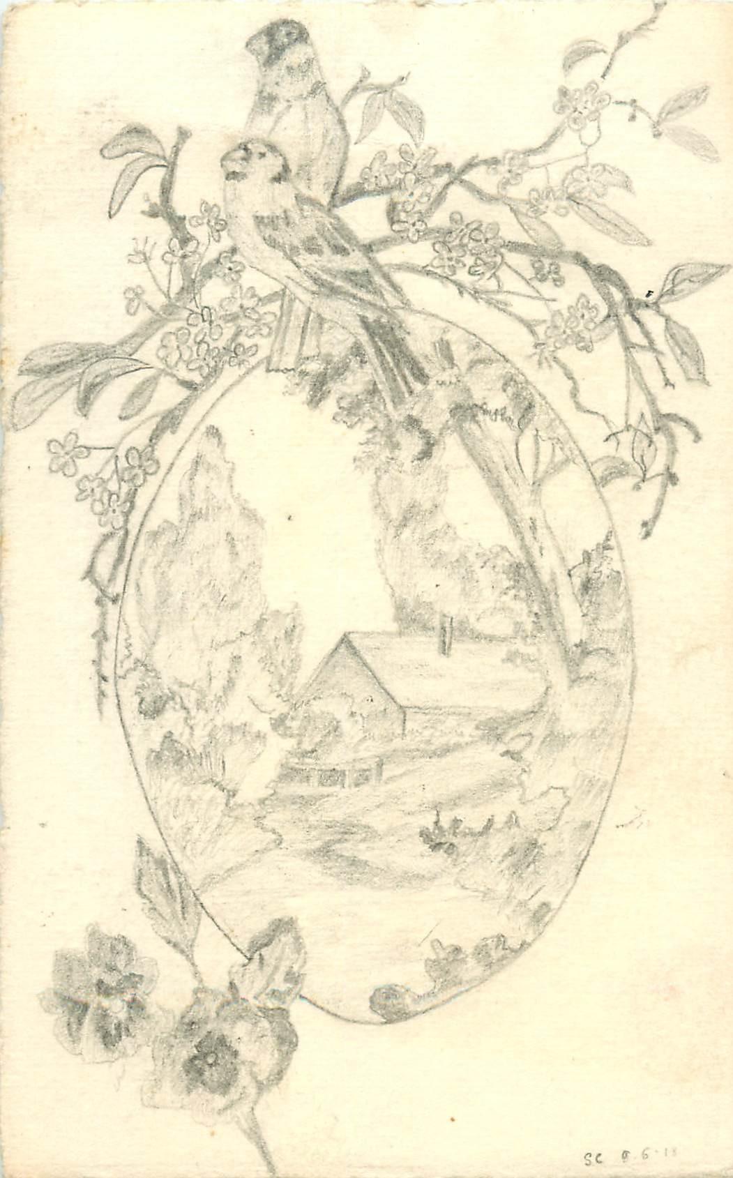 Carte postale dessinée à la main signée Suzanne C. 1919