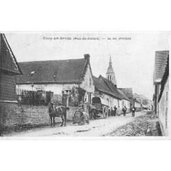 62 GOUY-EN-ARTOIS. Rue Principale attelage sur un tonneau