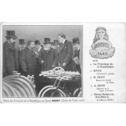 75 PARIS . Salon du Cycle 1906 Stand Rochet visite du Président de la République