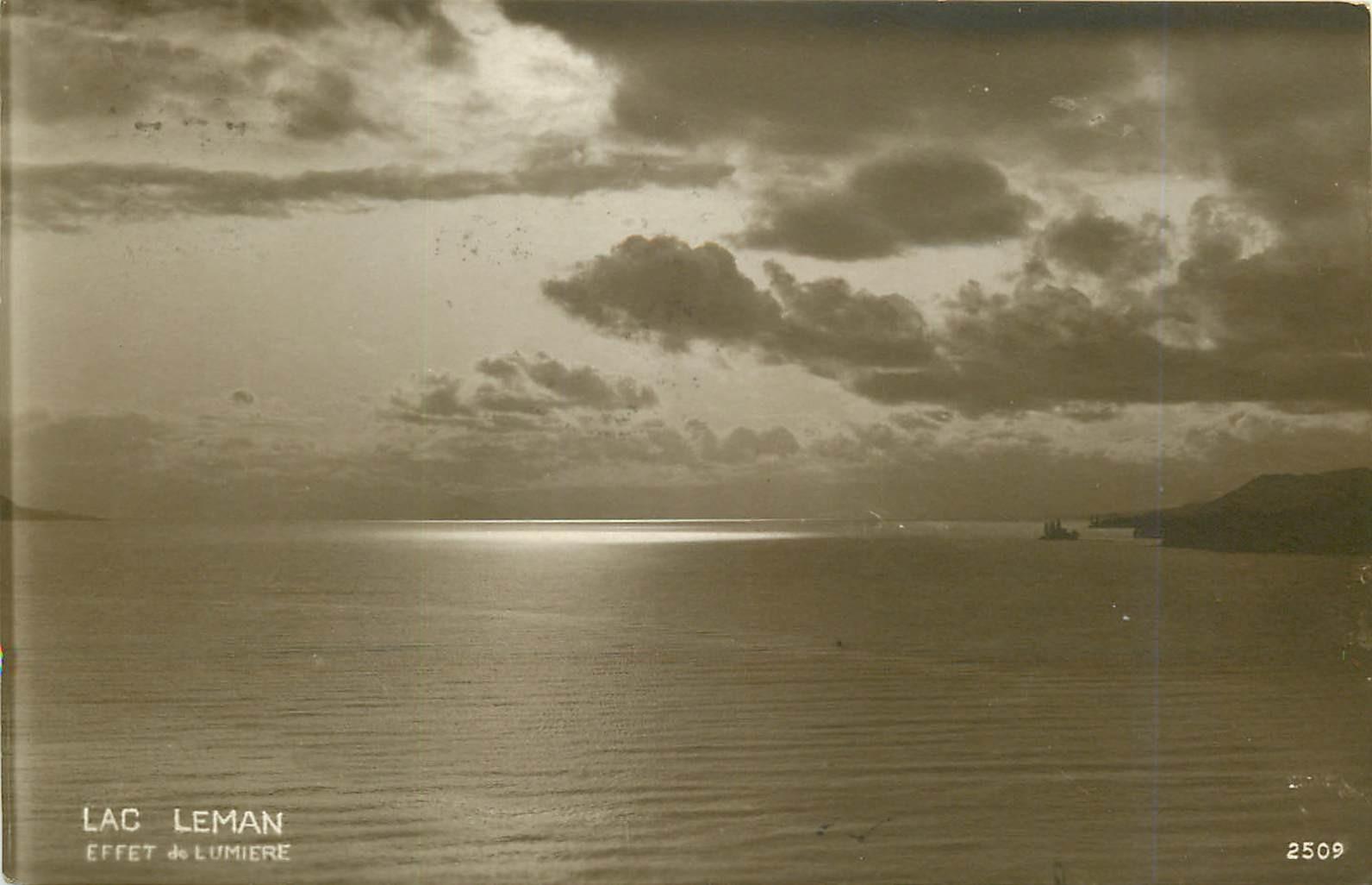 SUISSE. Effet de lumière sur le Lac Leman 1919