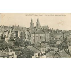 52 CHAUMONT. Eglise Saint-Jean-Baptiste et café du Fer à Cheval