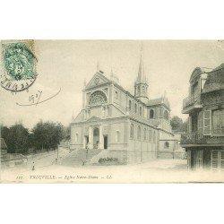 carte postale ancienne 14 TROUVILLE. Eglise Notre-Dame 1907. Fine plissure coin droit