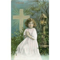carte postale ancienne 14 LISIEUX. Charité Jeune Fille en prière