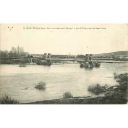 18 LE GUETIN. 2 x Cpa du Pont suspendu sur Allier et Bec d'Allier avec Pont Canal
