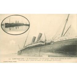 """44 SAINT-NAZAIRE. Transatlantique """" La Champagne """" échoué sur la Roche du Casino 1915"""