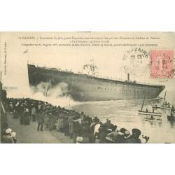 """44 SAINT-NAZAIRE. Paquebot """" La Provence """" quittant la Cale Chantiers de Penhoët 1905"""
