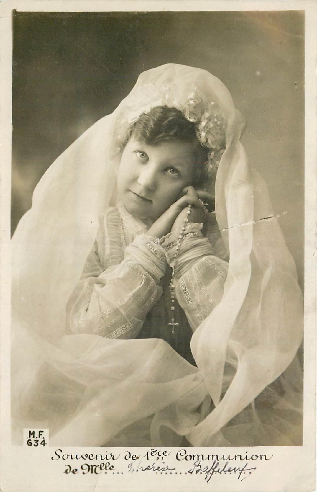 Souvenir de la 1ère Communion Fillette avec Chapelet 1908