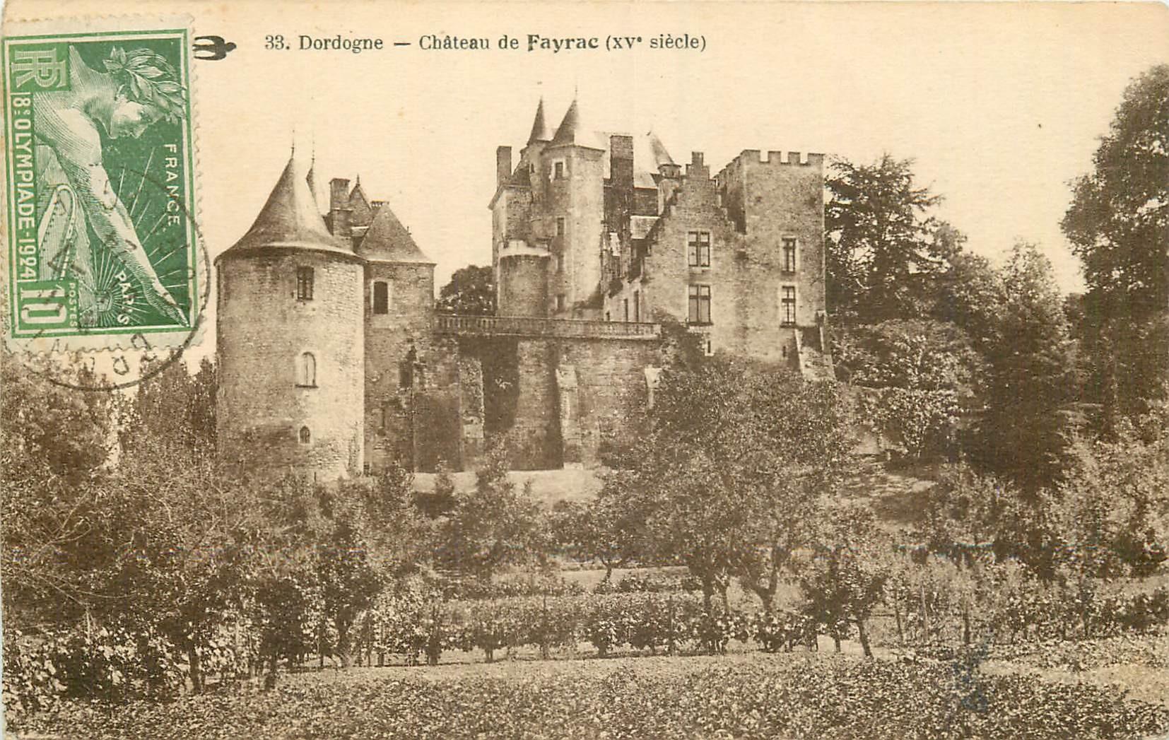 24 CASTELNAUD. Château de Fayrac. Beau timbre Olympiade 1924