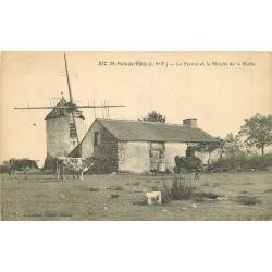 35 SAINT-MALO-DE-PHILY. Vaches à la Ferme et Moulin à vent de la Butte 1934