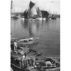 Photo Cpsm 29 CONCARNEAU. Pêcheurs au Port avec leurs bateaux de Pêche