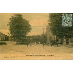 77 BEAUMONT-EN-GÂTINAIS. Attelage fiacre devant la Gare 1907