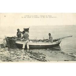 14 LION SUR MER. Barque de Pêche et Pêcheurs Timbre Taxe vers 1924