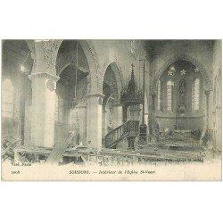 carte postale ancienne 02 SOISSONS. Eglise Saint-Waast 1917 intérieur
