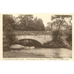 2 x Cpa 42 SAINT-MARCEL-D'URFE. Pont Vernay sur Rivière Aix et Quartier Chapelle au Bourg 1943