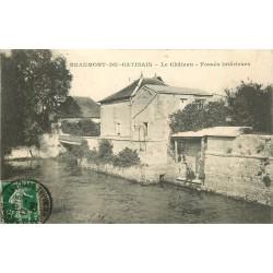 77 BEAUMONT-DU-GÂTINAIS. Le Château Fossés 1908 personnage assis
