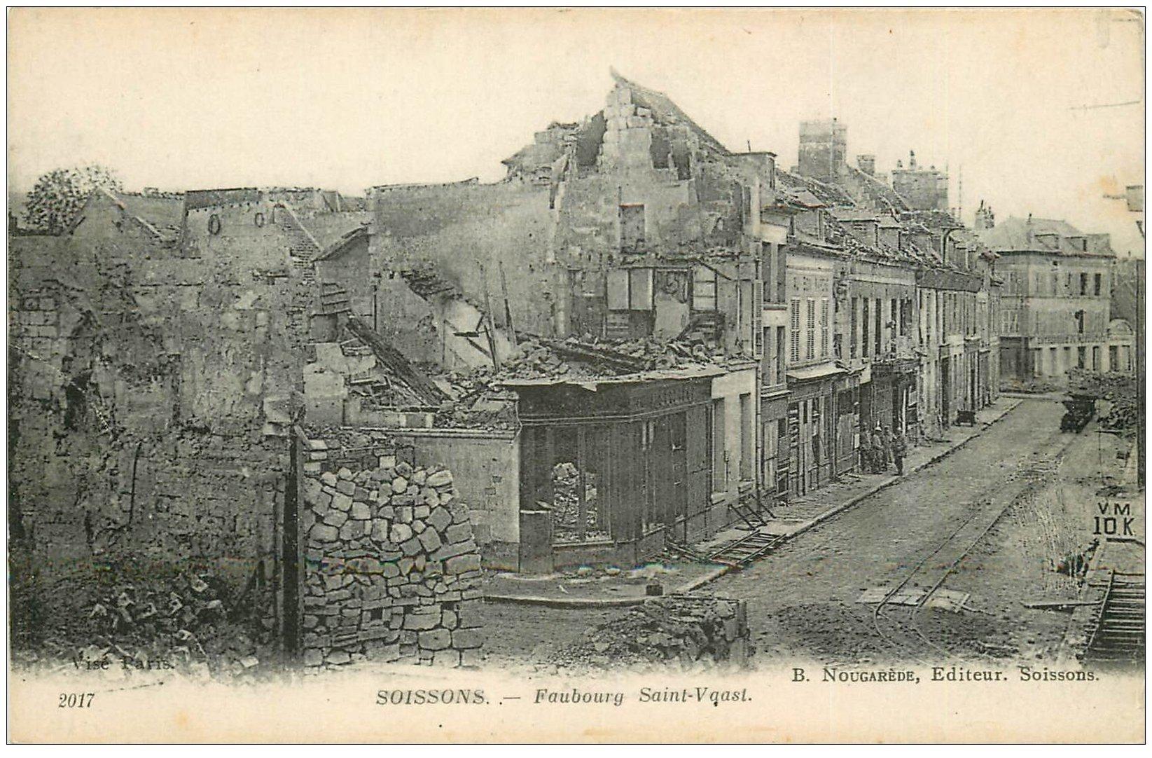 carte postale ancienne 02 SOISSONS. Faubourg Saint-Vaast