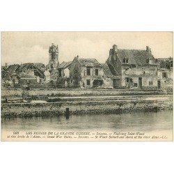 carte postale ancienne 02 SOISSONS. Faubourg Saint-Vaast et l'Aisne
