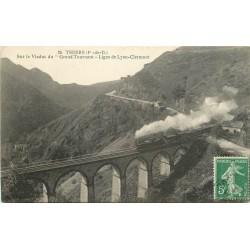 2 x cpa 63 THIERS. Train sur Viaduc Grand Tournant et le Moutier 1905