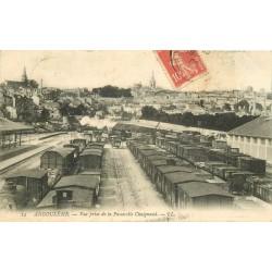 16 ANGOULEME. Gare et dépôt de Trains vue de la Passerelle Chaignaud 1908