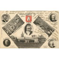 2 x cpa 14 CAEN. Fête Fédérale de Gymnastique 1911 et Epicerie rue d'Auge