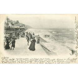 2 x cpa 14 VILLERS-SUR-MER. La Digue et Villa Bel-Air 1903