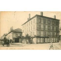 2 x cpa 15 AURILLAC. Grand Hôtel de Bordeaux 1914 et Hôtels de la Gare