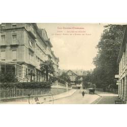 2 x cpa 64 SALIES-DE-BEARN. Grand Hôtel de Paris et attelage Place Eglise 1914