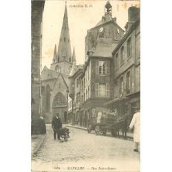 2 x cpa 22 GUIGAMP. Attelage rue Notre-Dame et le Trieux 1929