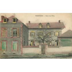 2 x cpa 18 NERONDES. Ecole des Filles coloriée 1915 et la Niche