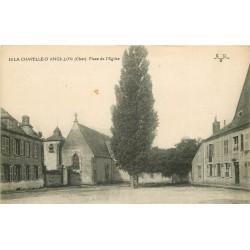 2 x cpa 18 LA CHAPELLE D'ANGILLON. Place Eglise et la Petite Sauldre animée 1913